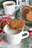 Milk and cookies for santa Royalty Free Stock Photography