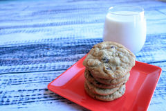 Milk and cookies side view Stock Images