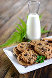 Milk and cookies. Some cookies and milk for a tasty snack Stock Photo