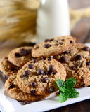 Milk and cookies. Some cookies and milk for a tasty snack Royalty Free Stock Photography
