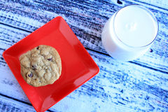Milk and cookies top view Royalty Free Stock Photos