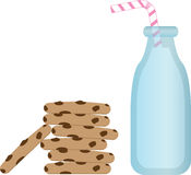 Milk and Cookies. Milk in a vintage bottle with straw and a stack of chocolate chip cookies Royalty Free Stock Image