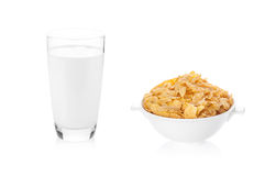 Milk and corn flakes isolated on white background Stock Photography
