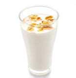 Milk and cornflake on white background Royalty Free Stock Photos