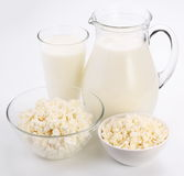 Milk and cottage cheese. Stock Image