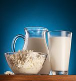 Milk and cottage cheese. Stock Photo