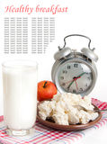Milk, cottage cheese and alarm clock Stock Images