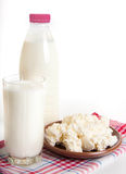 Milk and cottage cheese on the red napkin Royalty Free Stock Photography