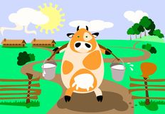 Milk-Cow. Illustration: milk-cow is bringing two heavy pail full of milk Stock Images