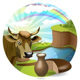 Milk and cow Stock Photo