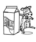 Milk with a cow coloring page Stock Image