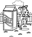 Milk with a cow coloring page Stock Photo