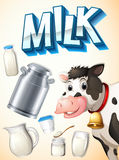 Milk, cow and dairy foods Royalty Free Stock Photos