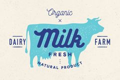 Milk, cow. Logo with cow silhouette, text Milk, Dairy farm. Organic, Natural product. Logo milk cow for dairy and meat business - shop, market. Vintage stock illustration