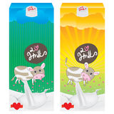 Milk cow packaging cute cartoon. Illustration kids love milk cow cute pack dairy and morning white background Stock Images