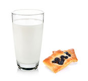 Milk and cracker with raisins Royalty Free Stock Images