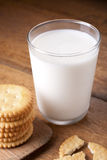 Milk and crackers Royalty Free Stock Images
