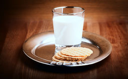 Milk and crackers Royalty Free Stock Photography