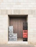 Milk Crates in Doorway. Stock Image