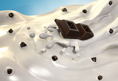 Milk cream with chocolate. Computer generated image of a tasty milk cream with pieces of dark chocolate splashing on it Stock Photography