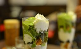 Milk cream with matcha royalty free stock images