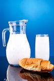 Milk and croissant Royalty Free Stock Image