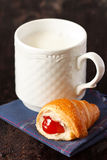Milk and croissant. Royalty Free Stock Photo