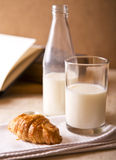 Milk and croissant Royalty Free Stock Photo