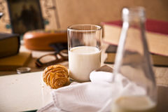 Milk and croissant Stock Image