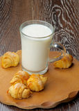 Milk and Croissant Cookies Royalty Free Stock Images