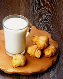 Milk and Croissant Cookies Royalty Free Stock Photography