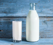 Milk cup and bottle Royalty Free Stock Photo