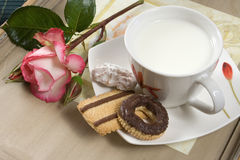 Milk cup with rose flower and chocolate biscuits Royalty Free Stock Photos