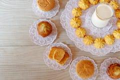 Milk, Cupcake, Cake Roll, Garlic Bread, Butter Bread, Banana Cupcake and Cookie stock photos