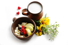 Milk and curd with summer fruits in brown ceramic bowls. Isolated on a white background Stock Images