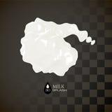 Milk 3D splash, isolated on black background Royalty Free Stock Images