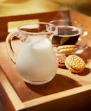 Milk and dairy cookies with cup of coffee. Milk and dairy cookies and cup of coffee royalty free stock photos