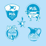 Milk and dairy farm product logo vector set Stock Photography