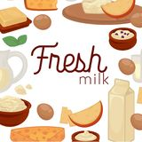 Milk and dairy farm food products vector cheese and yogurt drink. Milk and dairy farm products of milk, sour cream or yogurt and cottage cheese with butter Stock Image