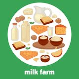 Milk and dairy farm products vector poster for market shop or store. Milk and dairy farm products poster for market shop or store. Vector flat design of milk Stock Images