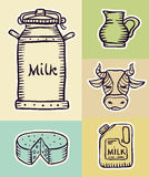 Milk and dairy products hand drawn set Royalty Free Stock Photography