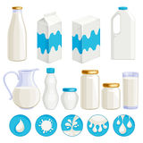 Milk dairy products icons set. Stock Photos