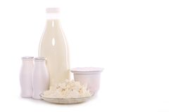 Dairy products isolated on white background Royalty Free Stock Photography