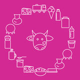Milk and dairy products are located around the cow's head on a pink background. Dairy icons in the style of the line. Royalty Free Stock Image