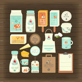 Milk and Dairy Products. Mockup Template on Dark Wooden Background. Vector Illustration Stock Image