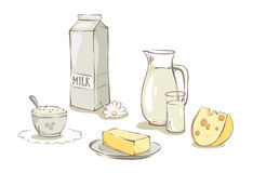 Milk and dairy products -- set Stock Image