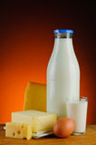 Milk and dairy products. Still life with organic milk and dairy products Stock Photos