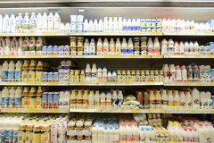 Milk and dairy products on supermarket store Royalty Free Stock Images