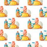 Milk dairy products vector flat style breakfast gourmet organic meal fresh diet food milky drink ingredient nutrition. Milk dairy products vector breakfast Royalty Free Stock Photo