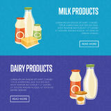 Milk and dairy products website templates Stock Photography